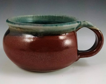 Turquoise Stone and Rust Red Soup Mug