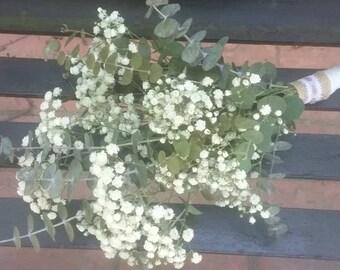 Baby's Breath Bridal Bouquet, Fresh Baby's Breath Bridal Bouquet, Eucalyptus and Baby's Breath, Wedding Bouquet, Bride's Maids Bouquet