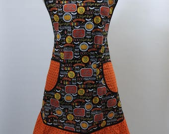 Vintage Style Apron-Halloween Trick or Treat Theme-Full Coverage Figure Flattering Design-Ruffle-Lined Pockets-Black Trim