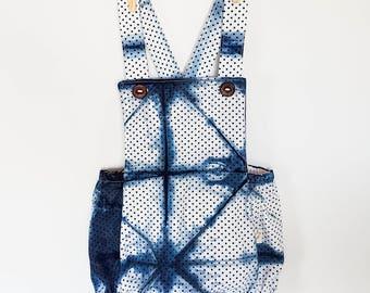 Polka Dot Romper, Shibori Girl Romper, Boho Romper, Tie Dye Baby Clothes, baby girl gift, baby shower gift, newborn girl coming home outfit