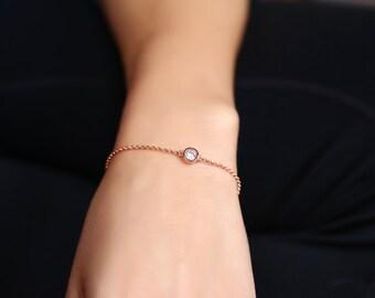 Birthstone Bracelet, Bridesmaids Bracelet, Custom Bracelet, Bracelet For Bridesmaids, Dainty Bracelet, Silver Bracelet, Gold Chain Bracelet