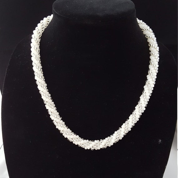 """White and silver beaded kumihimo woven necklace with 3""""extender chain. Womens necklace bridal necklace"""