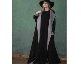 Black Dubai Abaya,  Bussines abaya,Elegant Kimono Dress, Muslim dress, Plus size abaya, Maxi office coat,pied-de-poule outfit, Classic abaya