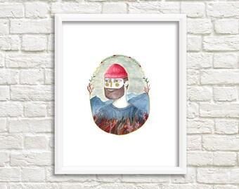Red Hat Man Illustration, Art Print