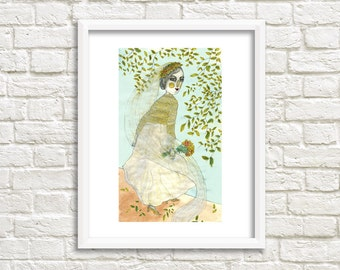 Gold Wedding Illustration, Art Print