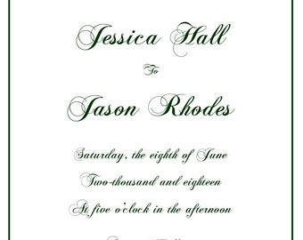 Simple Wedding Invitation, RSVP postcard, Set of 25