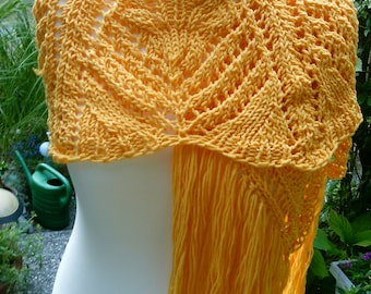 Scarf shawl in the Palm tree pattern, knit, yellow