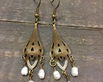 Oxidized Brass Pearl Earrings, Freshwater Pearl Earrings, Brass Earrings, Vintage Style Earrings, Chandelier Earrings, Lightweight Boho Ear
