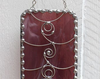 Purple Stained Glass Suncatcher Window Ornament with Faceted Purple Glass Bead
