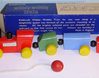 vintage Kiddicraft wooden Wibbly Wobbly Train Boxed