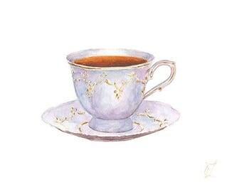 Original Watercolor Porcelain Cup of Tea Painting, Drink Illustration, Kitchen Decor, Restaurant Decor, Bar Decor, Home Decor, Wall Art