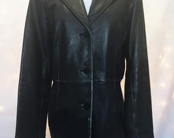 Real Leather - Black Leather Jacket - Buttery Soft Vintage 90s Worn Leather Coat - 100% Genuine Leather