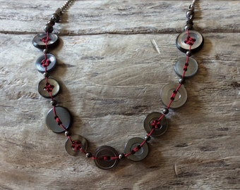 Necklace of recycled buttons #535
