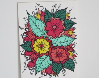 Original Zentangle Flower Drawing ACEO (Art Trading Card)