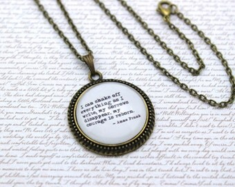 Anne Frank 'I Can Shake Off Everything As I Write', Quote Necklace or Keychain, Keyring