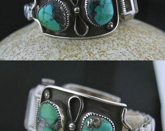 Native American Turquoise Silver Bracelet Watch, Helen Chee Watch Bracelet, Helen Chee Navajo Indian Jewelry, Native American Made Jewelry