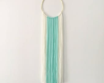 Small Ivory White + Turquoise Modern Bohemian Yarn Wall Hanging