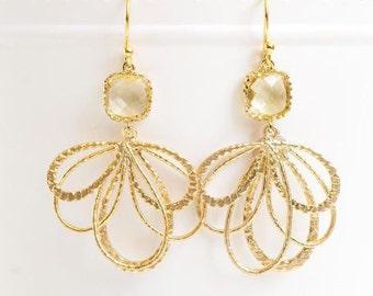 Lemon Yellow Glass Earrings in Gold. Chandelier Earrings. Gold Feather Earrings. Yellow Wedding. Mother's Day Gift. Gift for Her