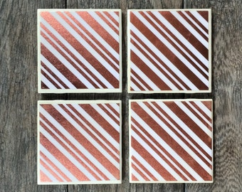 Pink and White Metallic Candy Cane Stripes Coasters