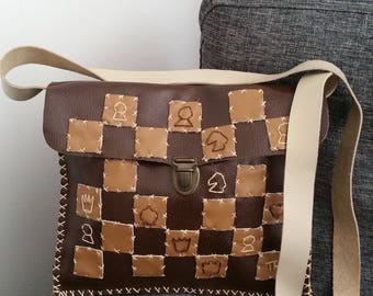 """Failure & Mat"" craft, leather bag, unique."