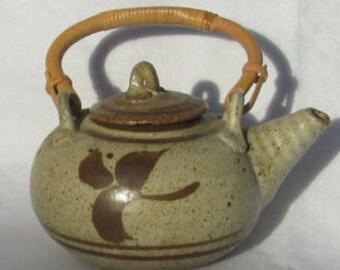 Vintage teapot, ceramic with wood handle