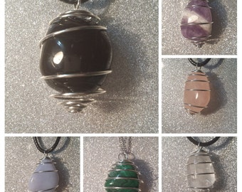 Tumbled natural stone wrapped in a spiral, chakras, Crystal therapy, reiki