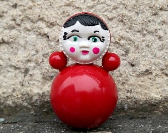 Vintage toy Vintage roly poly toy Nevalyashka roly poly doll soviet toy plastic doll Old Russian Toy Ding Doll  音乐的玩具圆滚滚