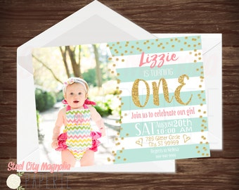Gold, Mint, Coral, First Birthday Invitation, girl's birthday invite, gold dots, stripes, photo, 5x7 digital printable