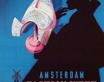 Vintage 1951 Amsterdam Fashion Week Poster A3 Print