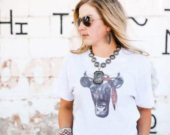 Cow Tee, Cow Shirt, Ranch, Cowgirl Shirt, Farm, Farm Life, Cow, Cow Love, Country Love Shirt , Hippie, Hipster Shirt , Rodeo,Hippie Cow