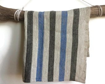 Linen towel, Set of kitchen towels, Beige linen kitchen towels, Striped linen kitchen towels, Blue and black kitchen towel