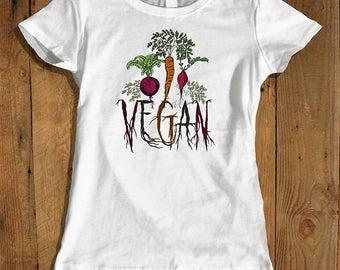 Vegan Roots Women's Tee - Vegan T-shirt - Vegetable Roots Shirt - Vegan Tee - Women's Graphic Tee - Eco Friendly Shirt for Women