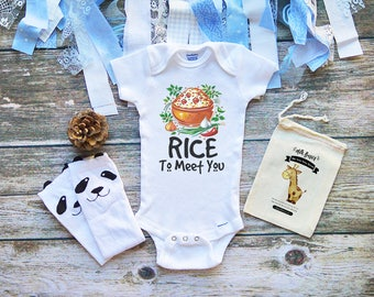 Rice to Meet You Cute Baby Onesie® Cute Baby Boy & Girl Clothes - Baby Shower Gifts - Infant Newborn Clothes - Funny Rice Onesie - M91