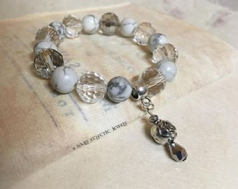 Bohemian Drop Charm Bracelet Clear Faceted Chinese Crystals Howlite Marble Round Beads Silver Rosette Charm Stretch Wild at Heart