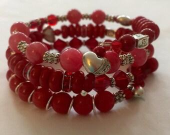 Beaded Bracelet Red Pink Bracelet Memory Wire Bracelet Women's Gift FREE Shipping in US