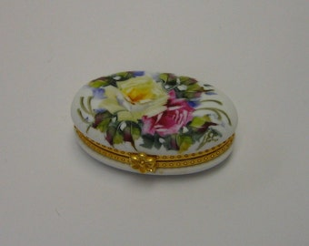 Hand decorated Limoges style box with rose design and metal fittings