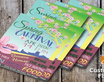 Spring Summer Carnival Flyer-EASTER- Spring Festival Flyer- School Church or Community Event -8.5x11 full page-5.5x8.5 half page-pdf flyer