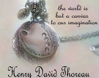 Artist Locket w-Palette & Letter Charms, Artist Gift, Inscribed with Henry David Thoreau Quote, The World is but a Canvas to our Imagination