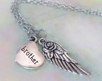Brother Memorial Necklace, Engraved Heart & Angel Wing, Grief Gift, Forever in My Heart, Protected by Angels, Bereavement Brother Loss