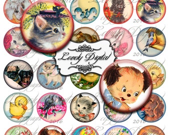 "1.5"" Digital Download Baby Animal Circles Jewelry Charm Bottlecap Scrapbook Embellishment Printable Collage Sheet"