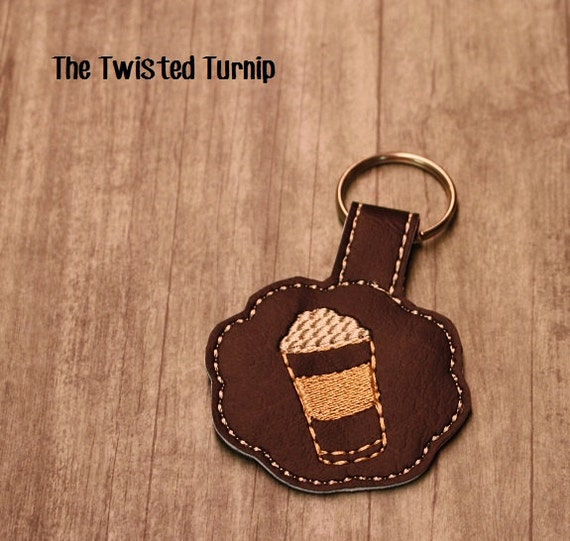 Latte Mocha Ice Coffe Key Fob Key Chain Bag Tag Zipper Pull Snap Tab Embroidery Design In The Hoop ITH  5x7