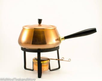 Vintage Copper Fondue Pot with Bakelite Handle Japan 1970's