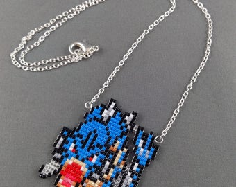 Gyarados Necklace - Pokemon Necklace Pokemon Jewelry Pixel Necklace Video Game Necklace 8bit Jewelry Geeky Gifts Anime Necklace