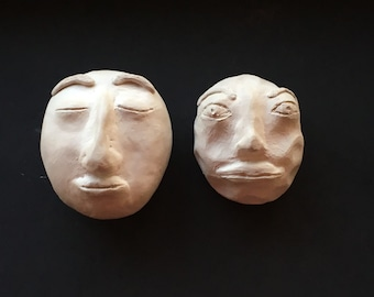 Moon Faces Set Of Two Unique One Of A Kind Hand Crafted Waldorf Fantasy Art Pieces