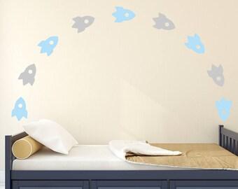 Rocket Wall Decal Vinyl - Wall Sticker - Wall Decal Pattern - Kids Decal Nursery | PP121