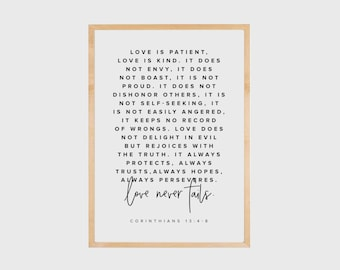 Bible Verse Wall Art, Love is patient, love is kind, Corinthians 13, Scripture Wall Art, Bible Verse Print, Faith Quotes, Love, PRINTABLE