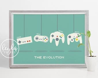 Gamer Print - Nintendo Controller Evolution | A6/A5/A4/A3 Illustration Print | Gaming Poster | For Him, For Her
