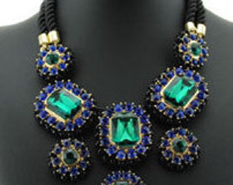 Bold Blue & Green Bold Gem Necklace