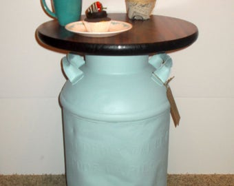 Vintage Milk Can End Table, Authentic, Entryway table, side table, accent table, rustic, country decor, repurposed furniture