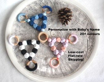 Silicone Teether Toy Wood Teether Toy CHOOSE color PERSONALIZED chewing toy Sensory toy Montessori inspired Waldorf Baby New Mom shower gift